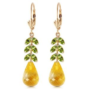 GOLD LEVER BACK EARRING WITH PERIDOT & CITRINES